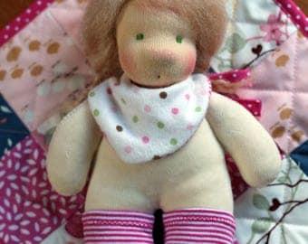 Annie, a tiny baby waldorf doll