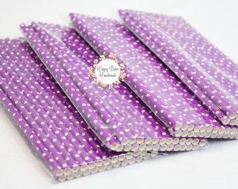 Purple Straws, Polka Dot Straws, Purple Polka Dot Straws, Pack of 25, Cake Pop Sticks, Paper Straws, Purple Birthday, Purple Wedding Decor