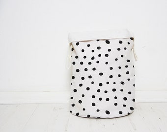 Polka Dots Laundry hamper basket, Monochrome Nursery baby toy storage