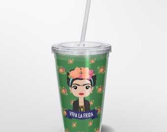 Frida Kahlo Cup - Frida Kahlo Art - Cute Frida Kahlo Portrait - Cute Frida Kahlo Travel Cup - Frida Kahlo To Go Cup - Cute Frida Cup