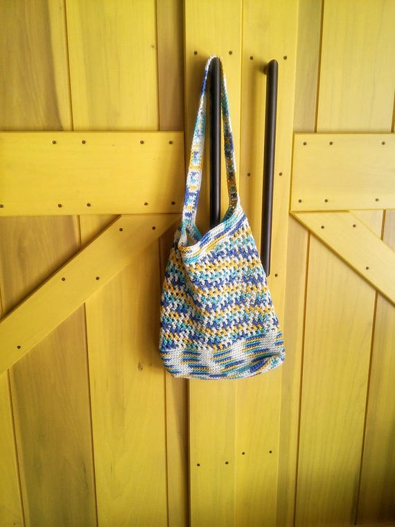 Market bag in Summer Skies -- beach bag -- grocery tote -- reusable bag