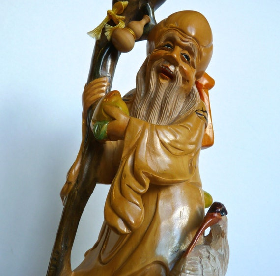 JAPANESE WOOD SCULPTURE ~ Jurojin ~ Hand Carved Wood Okimono ~ God Of Longevity ~ Accompanied By Crane and Carrying A Peach ~ C. 1950s
