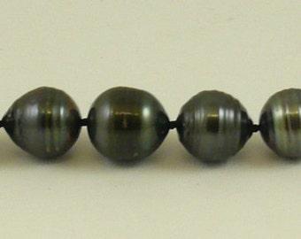 "Tahitian Black 11.5 mm -13.1 mm Pearl Bracelet 14K White Gold Clasp, 7 3/4"" Long"