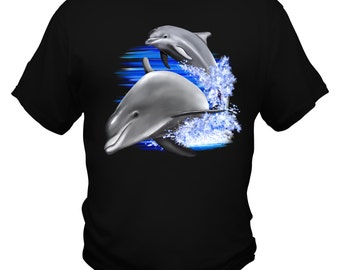 Dolphins jumping out of water custom Printed Tshirt