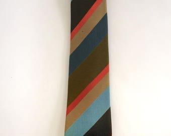 Vintage 1970's Necktie With Orange, Green, Gold, Blue and Brown Stripes