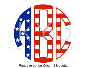 Circle Monogram Font svg cut files, American Flag svg patter letters alphabet, monogram fonts for cricut, silhouette cameo files, svg files