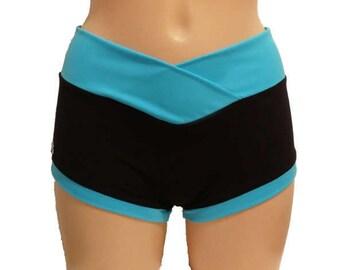 pole dancing yoga shorts with V cut waistband