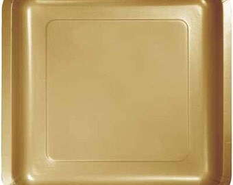 Gold Square Cake Plates/Disposable/Paper Plates/Dining/