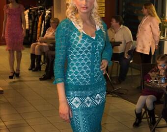 Turquoise crocheted silk costum, designer work.