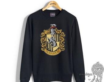 Hufflepuff #1 Crest printed on Black color Crew neck Sweatshirt