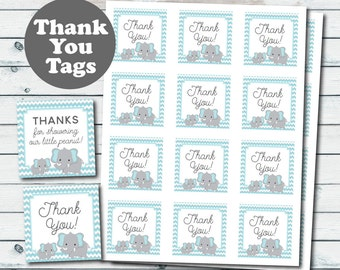 Blue Elephant Baby Shower Favor Tags, Elephant Printable Thank You Tags, Baby Shower Thank You Tags, Blue And Grey Elephant Printable