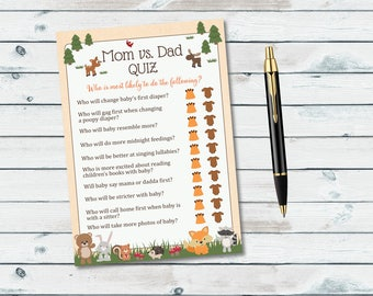 Mom Vs Dad Quiz Baby Shower Game, Woodland Mom or Dad Printable Game,  Mommy Vs Daddy Baby Shower Quiz, Mom Or Dad Trivia Game