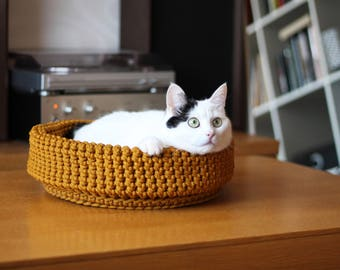 Yellow Crocheted Pet Bed