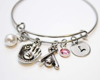 softball initial bracelet, softball initial bangle, softball bracelet, softball jewelry, softball charm bracelet, softball theme bracelet