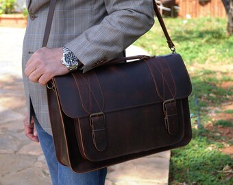 LEATHER BUSINESS BAG, made from leather calf, messenger bag for men, businesswomen bag,businessmen bag,hand made in Greece
