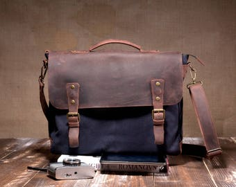 "15"" laptop bag - canvas shoulder bag - crossbody bag messenger - canvas messenger - canvas bag men"