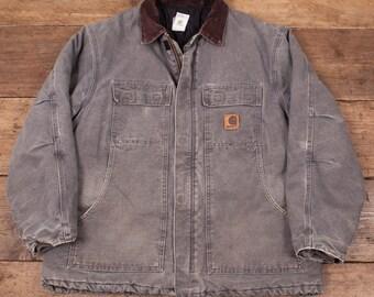 "Mens Vintage Carhartt Quilt Lined Workwear Chore Jacket Grey XL 50"" R4900"