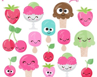Ice Cream Faces Clip Art, Ice Cream Clip Art, Kawaii Ice Cream, Popsicle Clip Art, Ice Cream digital papers, Commercial License Included