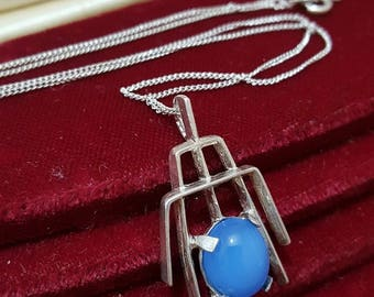 Vintage 1976 sterling silver necklace pendant, blue chalcedony,925 silver chain