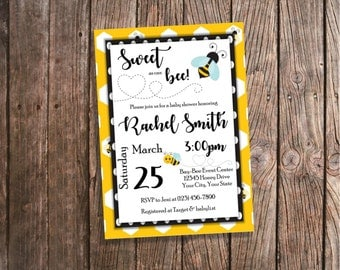 Bee Baby Shower Invitation - Bumblebee Invitations - Bumble Bee Invites - Sweet as can Bee Baby Shower - Honey Bee Themed Baby Shower Invite