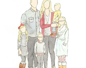Custom Family Watercolor Illustration