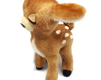 Vintage Dakin Plush Deer- 1974- Winking Sleepy Fawn- Standing Reindeer Doe- White Tail Deer- 12in Tall Stiff- Woodland Stuffed Animal Toy