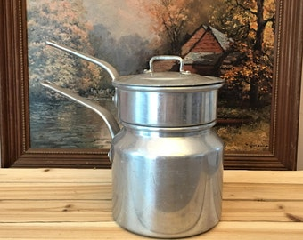 Vintage Aluminum Double Boiler Pot and Pan With Lid ~ Made in France ~ Vintage Pots and Pans Made in France