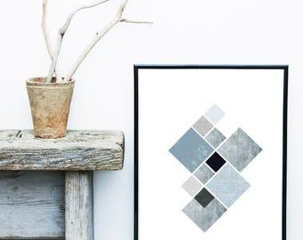 Blue Scandi Art, Geometric Art Print, Abstract Art Print, Minimalist Print,  Giclee print, Wall Art,  Poster, Wall Decor