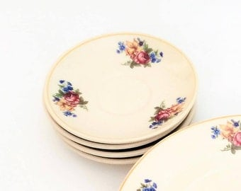 Syracuse china Colonial with Rose and Daffodils 4 Saucer, Vintage Restaurant ware Syracuse dishes