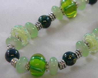 OOAK Multitone Green Beaded Necklace