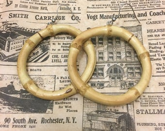 NEW!! Real Bamboo Earrings - Round Hoops Tiki 1950's