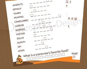 Fall Word Riddle Game Printable - Thanksgiving Party Games - Instant Download - School Harvest Party Printables - Holiday Autumn Party Games