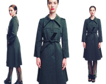 Vtg 70s 80s Military Wool Green Belted Coat