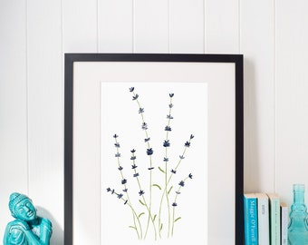 Watercolor lavender flower print flower watercolor botanical art lavender painting lavender watercolor blue flower art print wall decor