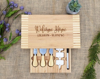 Welcome Home Cutting Board w/ Coordinates & Cheese Tools, House Coordinates, Real Estate Closing Gift, Custom Cheese Board, Personalized