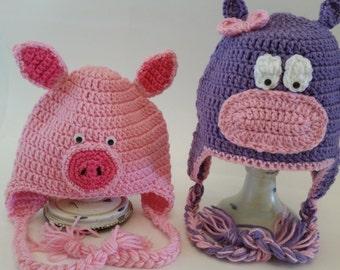 Crochet Character Hats, Crochet Animal Hats, Pig hat, Hippo hat