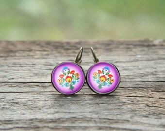 Polish Folk Earrings, Pink earrings, Pink flower earrings, Slavic earrings, polish gift, polish folk, folk pink