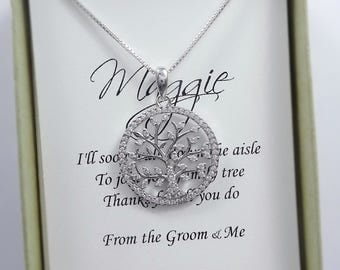 Tree of Life Necklace, Mother of the Bride Gift, Mother of the Groom Gift, Gift for Mom, Wedding Necklace, Bridal Party Necklace
