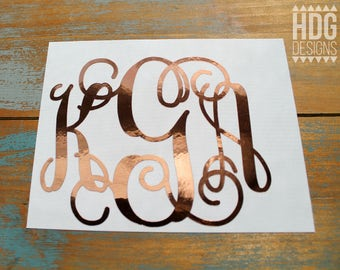 Rose Gold Monogram Decal - Monogram Decal - Rose Gold Monogram - Rose Gold decal - Yeti decal - RTIC decal - decal for women - Wedding decal
