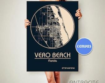 VERO BEACH Florida CANVAS Map Vero Beach Florida Poster City Map Vero Beach Florida Art Print Vero Beach Florida