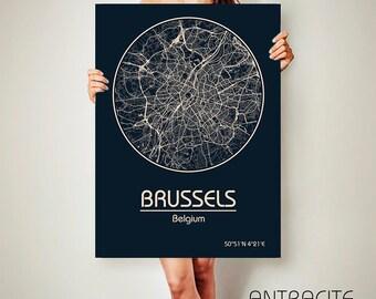 BRUSSELS Belgium CANVAS Map Brussels Belgium Poster City Map Brussels Belgium Art Print Brussels Belgium poster Brussels  map art Poster
