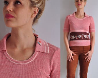 60s 70s Knit Embroidered Sweater // XS Small // Pink Purple Flowers