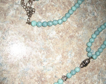 Cross and Skull Turquoise Skull Necklace