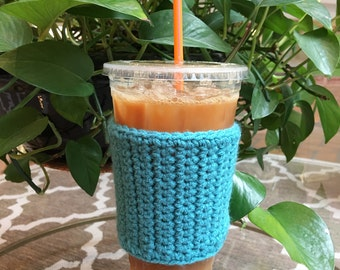Crochet Coffee Sleeve in Teal - Crochet Coffee Cozy - Coffee Cozy - Coffee Gift - Coffee Cup Cozy - Handmade - Reusable Coffee Sleeve