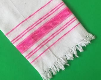 Fuschia Pink and White Handwoven Kitchen Towel, Tea Towel from Oaxaca Mexico