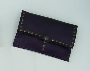 Handmade tobacco pouch leather plum, original and practical, Celtic, medieval