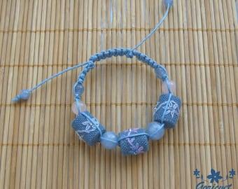 Aquamarine jewelry blue bracelet macrame bracelet braided bracelet Cute gift for girl floral bracelet handmade jewelry gift for girlfriend