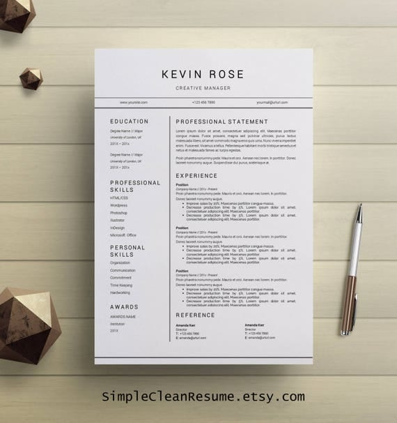 Modern Resume Template, Modern Cover Letter Reference Letter Ms
