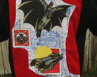 Batman Shirt- Batman Gift- Geek Shirt- Batman Comic Shirt- Batmobile- Penguin- Cat Woman- Vintage Batman Fabric- Dickies- Size Medium
