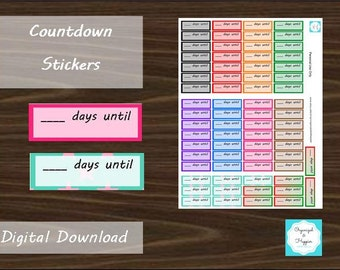 Countdown Days Until Time Left Planner Stickers Erin Condren Printable Digital Download PDF